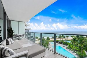 View of the pool and ocean from a Fort Lauderdale luxury condo